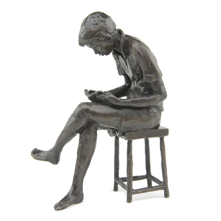 Solid Bronze Large Seated Boy sculpture by Jonathan Sanders in collaboration with the Wedgwood Museum.  14cm high.  Limited Edition of 250 castings