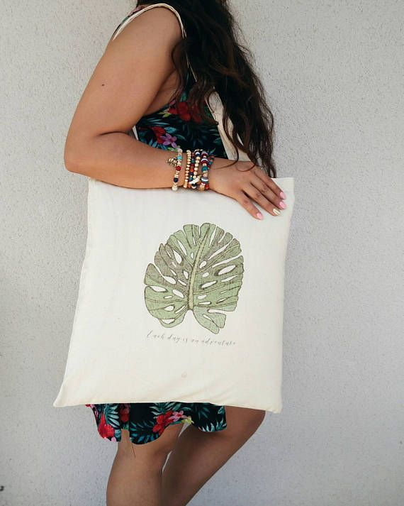 Tote Bag illustration feuilles jungle each day is an