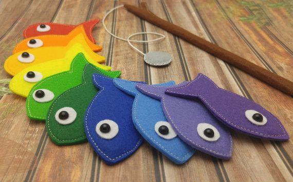 Rainbow Felt Magnetic Fishing Game Kids Magnet by Helgamade