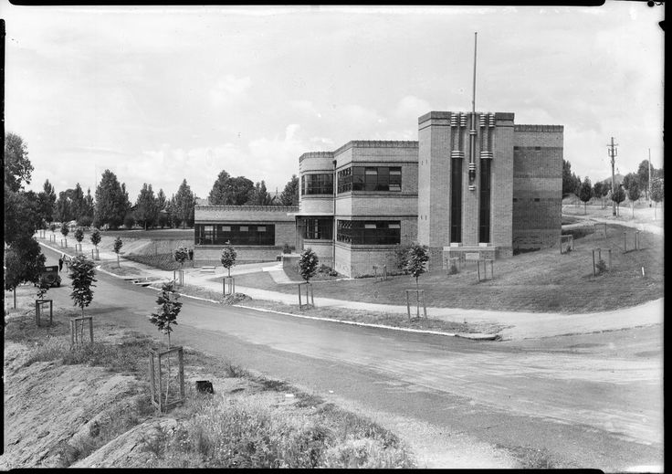 Yallourn Technical School, Yallourn, 1936, single storey extension 1941 (or 1947?), photo dated 1947, State Library of Victoria. (whole town demolished 1970-82 to expand coal mine) - Land remains