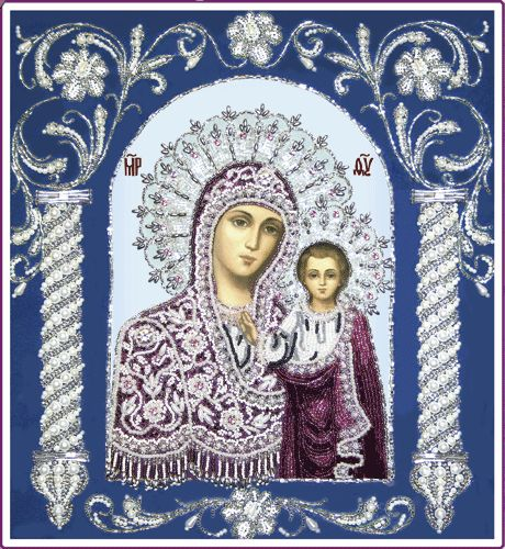 Beaded Embroidery DIY kit orthodox wedding icon Virgin Mary Kazanska