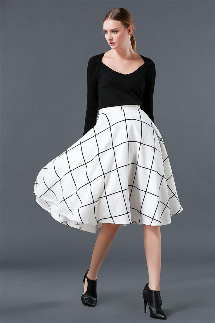 2016 spring and autumn fashion women's new big adaptall lattice skirt ,skirt for all-purpose