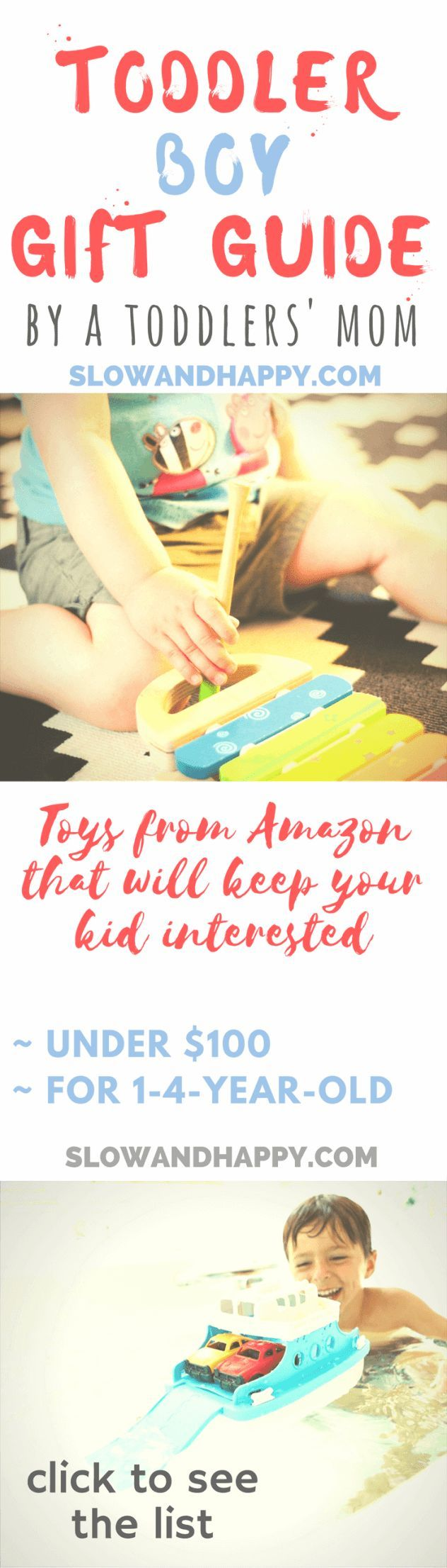 Toddler boy gift guide 2017 - toys from amazon under $100. For 1-4-year-old boys. Choice by a current toddlers' mom. Gifts for boys Chrismas 2017 | gifts for toddlers Christmas | gift guide for kids | gifts for toddler boys #giftguide #giftguideforkids #giftguideforboys #giftsforkids #giftsforboys #Deals #GIFTIDEA #giftideas Click to see the list + some good deals!