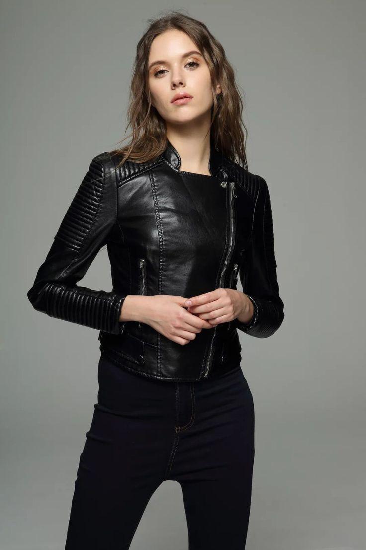 Femmes faux veste En Cuir printemps 2016 automne mince manteau de cuir PU moto veste dames noir bomber veste en cuir outwear(China (Mainland))