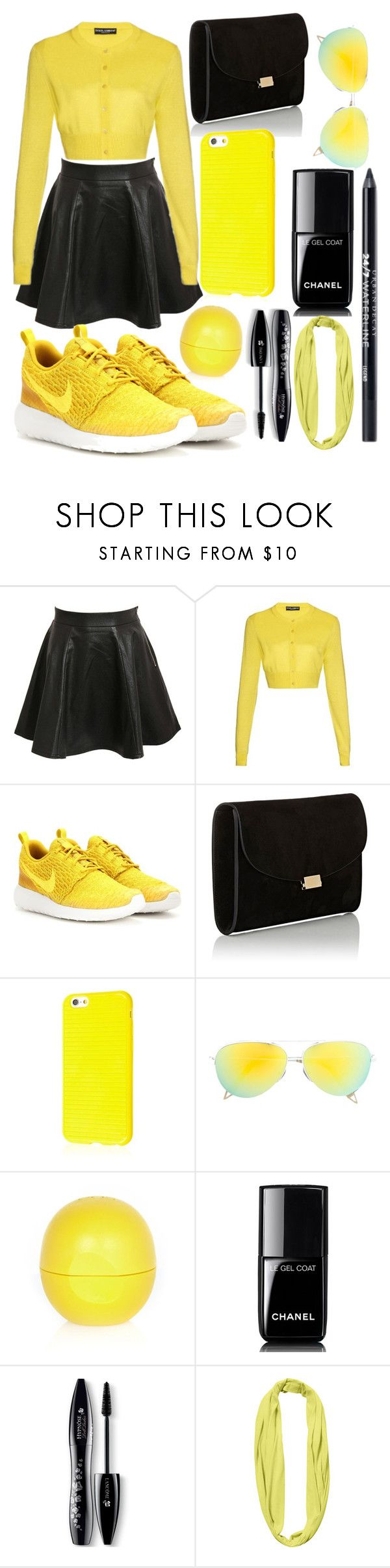 """black and yellow"" by cintia2019 ❤ liked on Polyvore featuring Pilot, Dolce&Gabbana, NIKE, Mansur Gavriel, Victoria Beckham, River Island, Chanel, Lancôme, BUFF and Urban Decay"