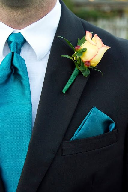 Fall Wedding Series #2 - The Wedding Party, Colors and Flowers ~ Create. Share. Repeat!  Teal Wedding Dress - Tealness By Alfred Angelo  Teal Tie