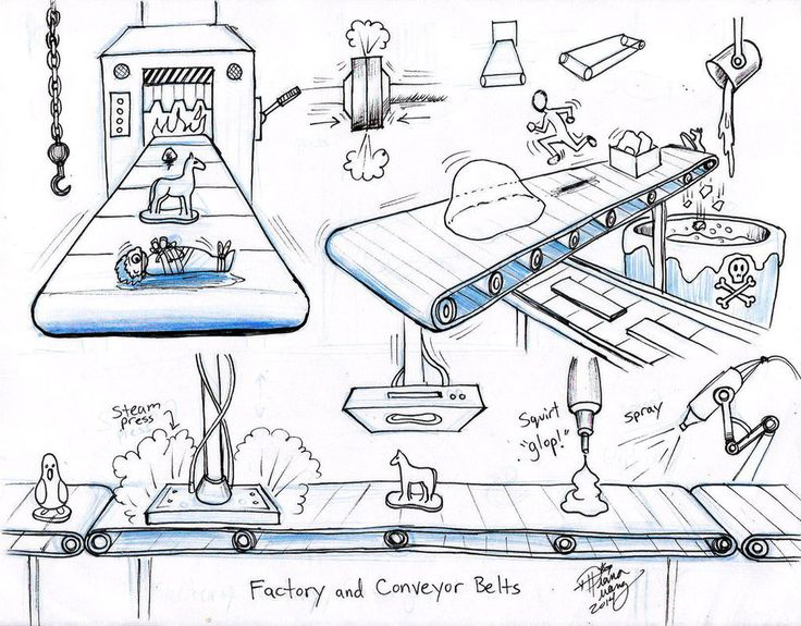 Draw Factory Conveyor Belts by Diana-Huang