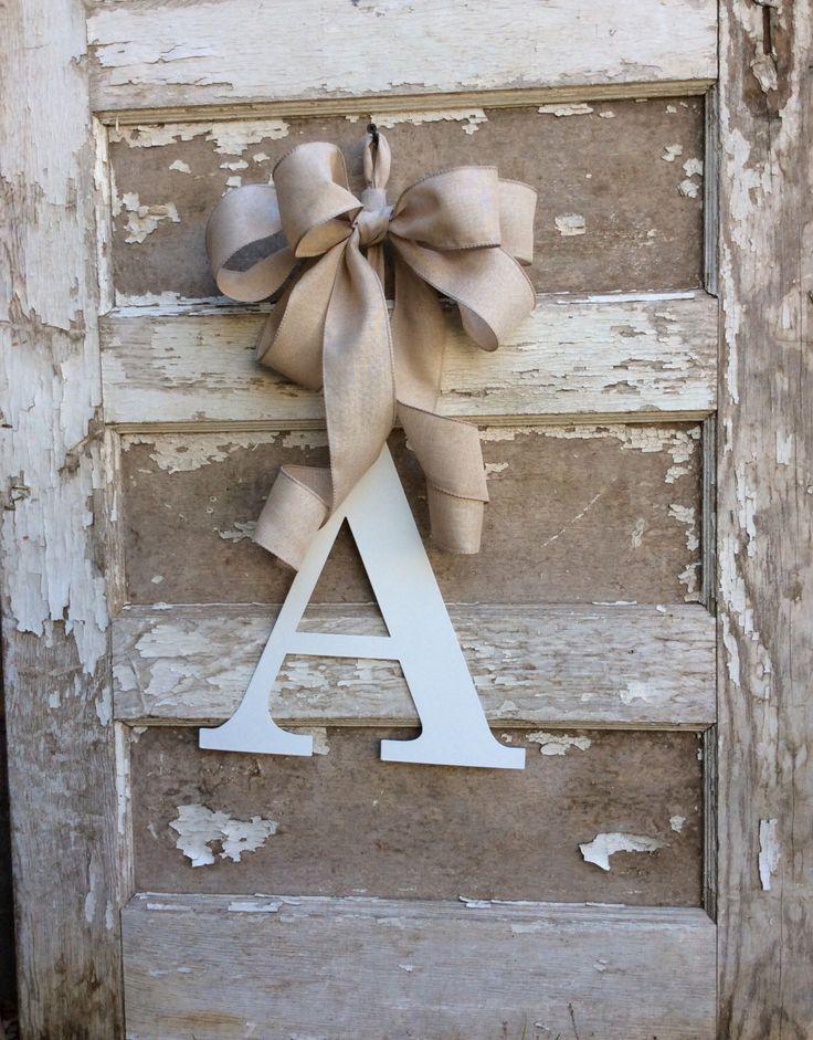 Monogram Wreath,Metal Monogram,Metal door letter,Wedding Letter,Wedding Monogram,front door monogram,Back door Monogram,monogram with ribbon by Keleas on Etsy https://www.etsy.com/listing/216412359/monogram-wreathmetal-monogrammetal-door