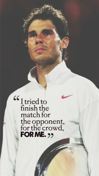 The warrior of tennis. The man who never gives up. The fighter. Rafael Nadal  Rafa will come back stronger. ...