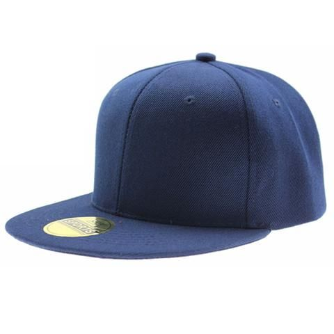 Royal Blue Fitted Flat Bill Plain Solid Blank Baseball Cap Caps Hat Hats 7 SIZES