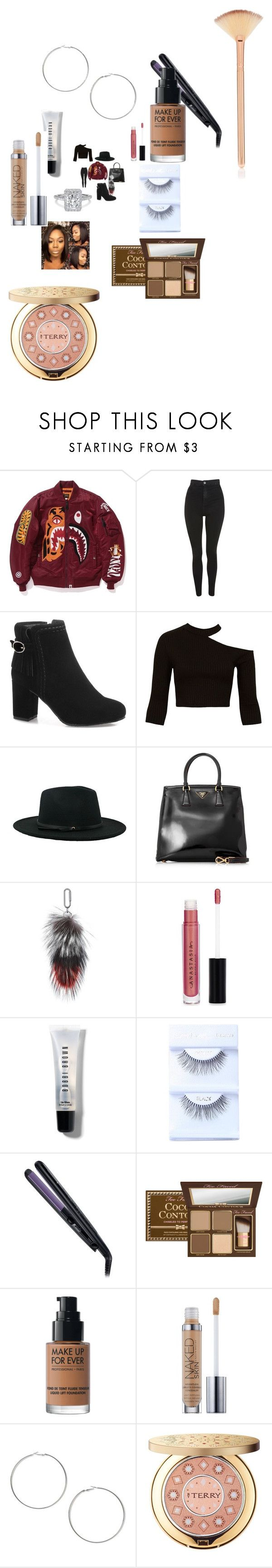 """""""Untitled #5014"""" by fashionicon67 ❤ liked on Polyvore featuring Topshop, Sans Souci, Prada, Amanda Wakeley, Anastasia Beverly Hills, Bobbi Brown Cosmetics, Remington, MAKE UP FOR EVER, Urban Decay and Miss Selfridge"""