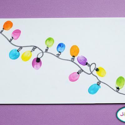 Thumbprint Christmas Lights: Christmas Crafts, Thumb Prints, For Kids, Thumbprint Crafts, Lighting Crafts, Kids Crafts, Thumbprint Christmas, Christmas Card, Christmas Lighting