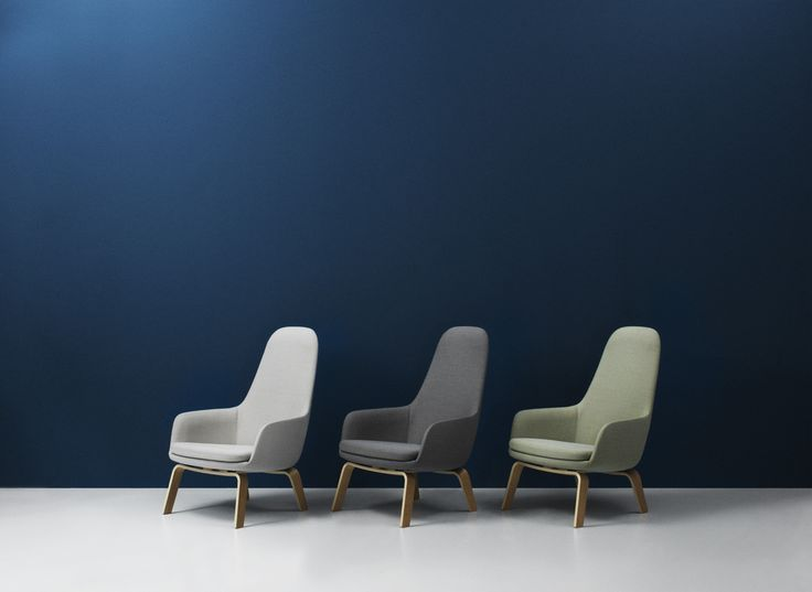 Era high lounge chairs with oak legs in dusted colors of green and grey | Normann Copenhagen
