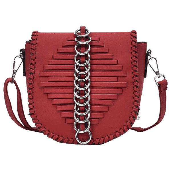 Wine Red Whipstich Metal Ring Crossbody Bag (740 RUB) ❤ liked on Polyvore featuring bags, handbags, shoulder bags, cross-body handbag, wine handbag, red crossbody handbags, red shoulder bag and wine purse