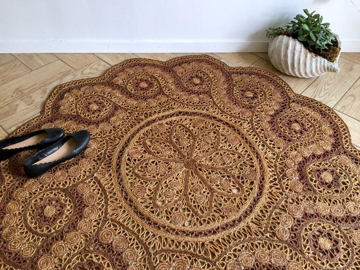 "Round Ornate Jute Rug / Bohemian Woven Sisal Area Rug / Woven Straw Circle Doily Rug 60"" / 5' Round Medallion Floral Door Mat / Mandala Rug by ShopRachaels on Etsy https://www.etsy.com/listing/511885407/round-ornate-jute-rug-bohemian-woven"