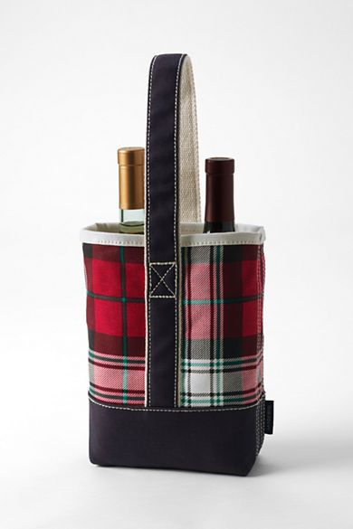 Plaid Double Canvas Wine Tote from Lands' End