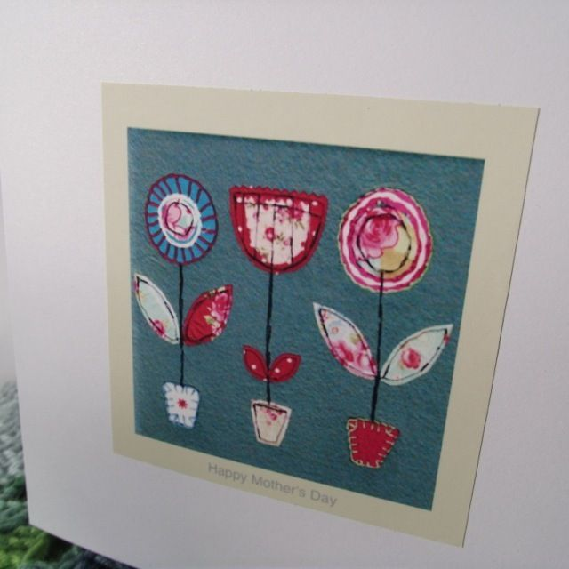 Textile Art Mother's Day Greetings Card by CraftHippy