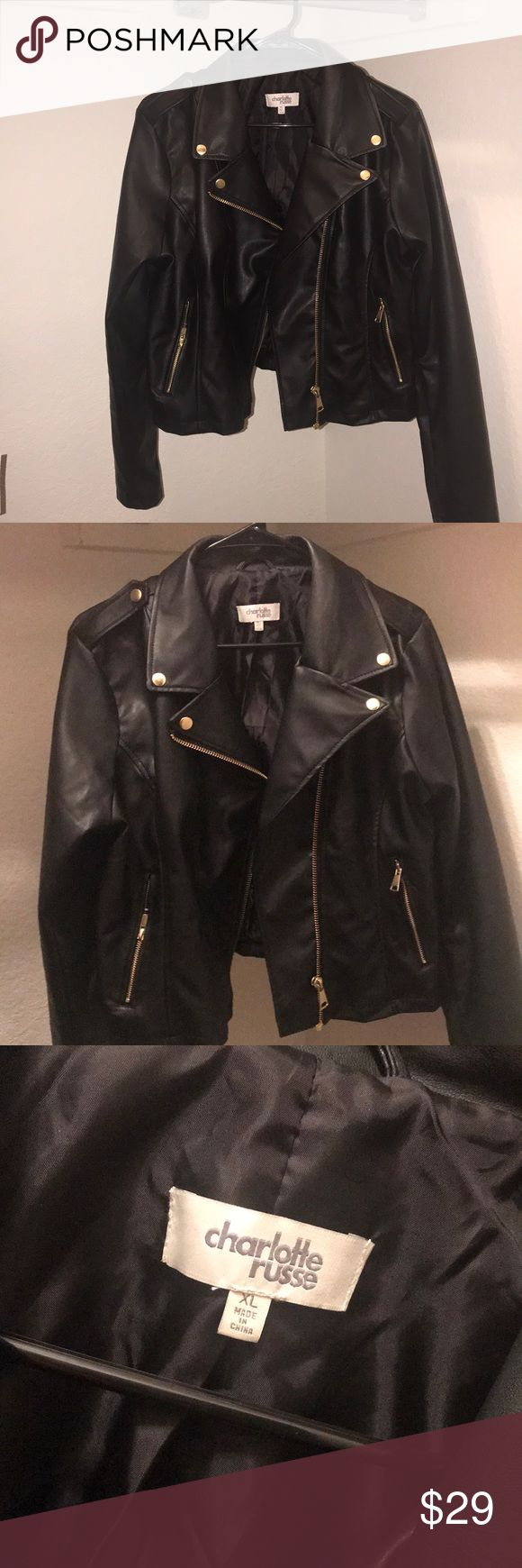 Black Fashion Leather Jacket Charlotte Rousse Black Fashion Leather Jacket.  Size XL.  Worn once, excellent condition. Charlotte Russe Jackets & Coats