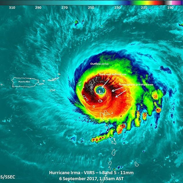 NASA Satellite Sees Barbuda in the Eye of Hurricane Irma In a unique image, NASA-NOAA's Suomi NPP satellite passed over Hurricane Irma when the island of Barbuda was in the center of the storm's eye.  Barbuda is an island in the Eastern Caribbean, and forms part of the state of Antigua and Barbuda. (Source: Wikipedia)  Credit: NASA/NOAA/UWM-CIMSS, William Straka III Release Date: September 6, 2017  Barbuda Government of Antigua and Barbuda Antigua and Barbuda Tourism NOAA NWS National Hurricane
