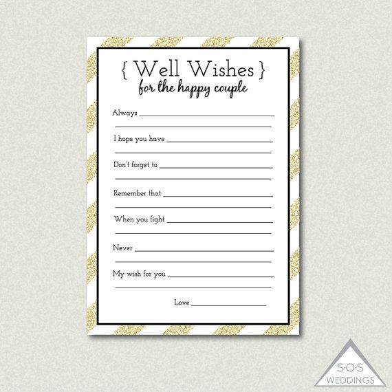 Printable Well Wishes, Bridal Shower Game, Advice for the Couple, Marriage Advice, Gold Wedding, Printable Advice Cards, Gold Glitter Shower