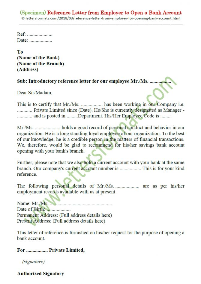 Bank Reference Letter For Account Opening | Reference ...