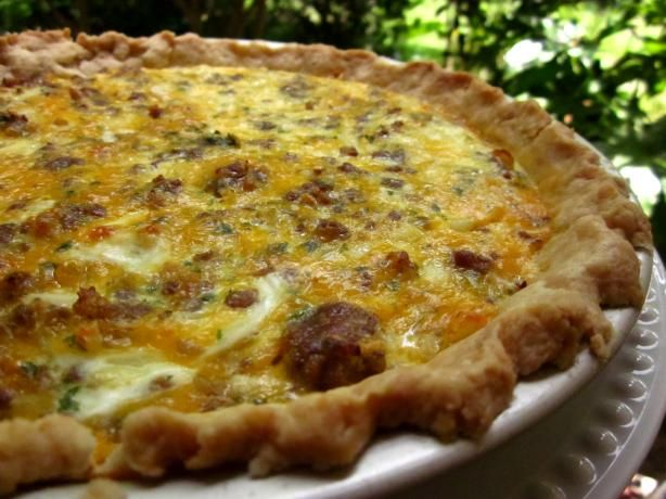 Sausage Onion Quiche Recipe -This is now my go to quiche recipe. You can obviously add different meats and veggies, but I would saute them first and let them dry out before mixing it in with the eggs and cheese. Also I would bake the crust for about 8-10 minutes before filling it.