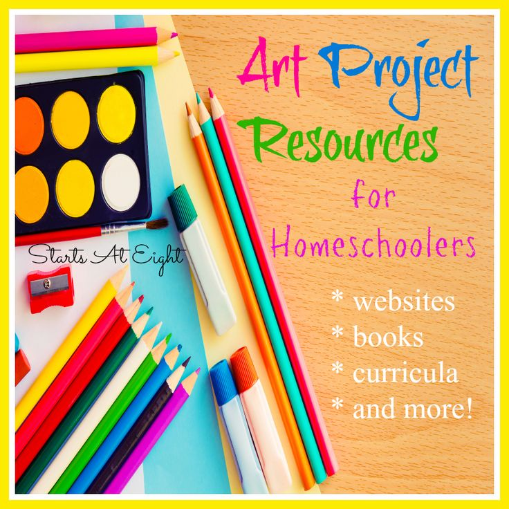 TONS of Art Project Resources for Homeschoolers from Starts At Eight. Many FREE art resources, online art projects, art tutorials and more!