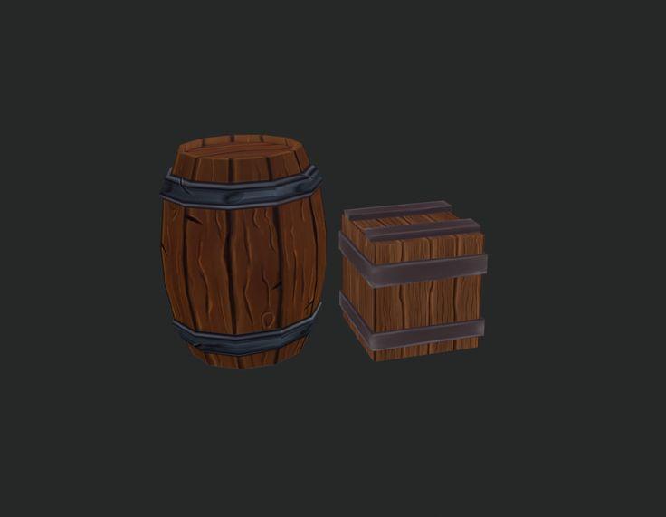 Handpainted Barrel and Crates, Angelina Halim on ArtStation at…