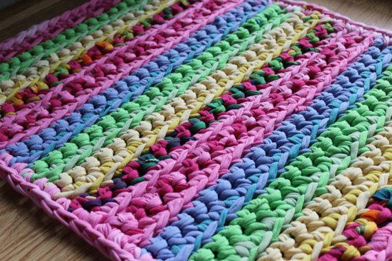 Rectangular 20x40 Pink Lovers Multicolored Rag Rug