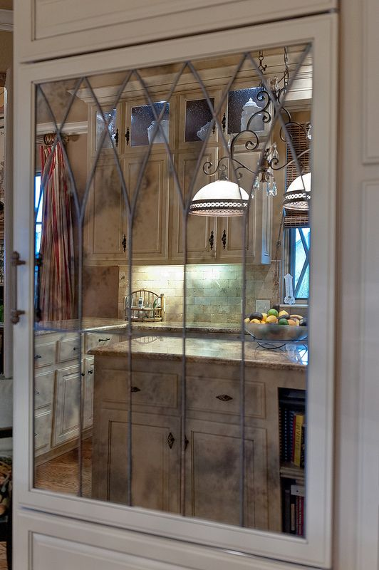 Refrigerator Door With Antiqued Mirror And Lead Partitions