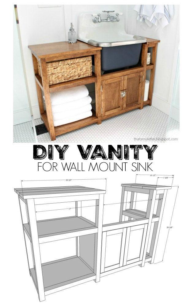 Diy Vanity For Wall Mount Sink Jaime Costiglio Diy Furniture Diy Vanity Diy Bathroom Decor