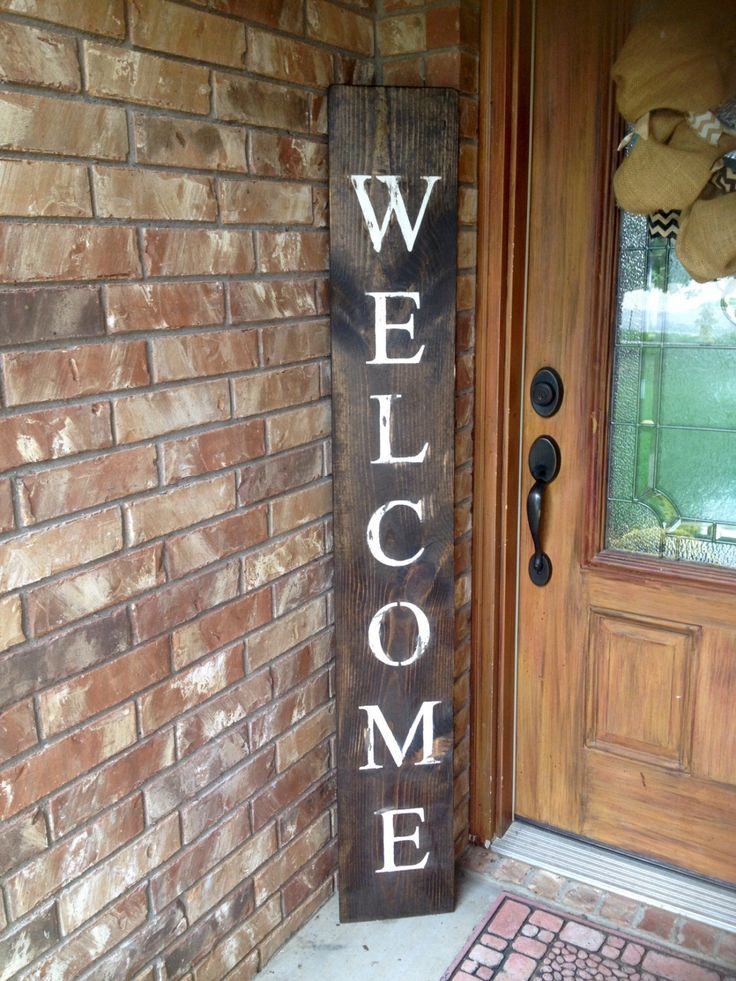 WELCOME SIGN, RUSTIC Wood welcome sign, front door welcome sign, rustic welcome sign, gifts for her, gift, home decor, porch sign, vertical by NativeRange on Etsy https://www.etsy.com/listing/485124335/welcome-sign-rustic-wood-welcome-sign