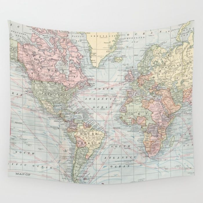Puerto Rico Map World%0A Vintage World Map        Wall Tapestry