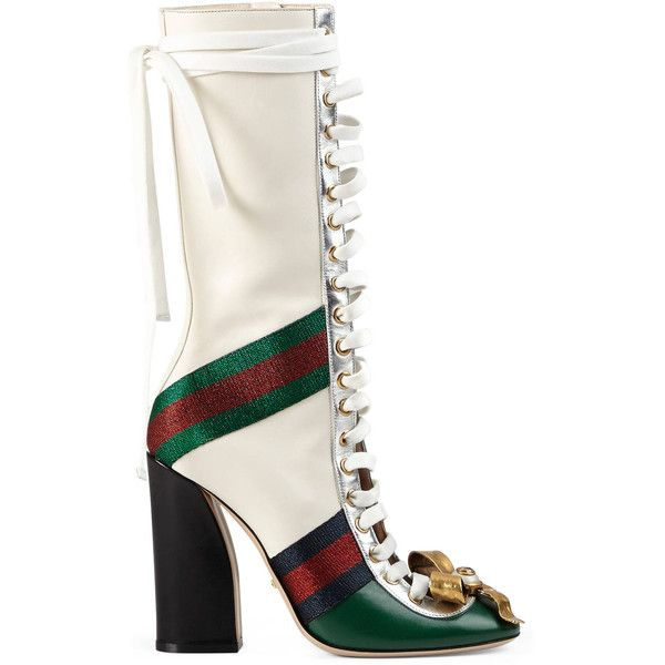 Gucci Finnlay Leather High Boot ($1,990) ❤ liked on Polyvore featuring shoes, boots, green, tall boots, thigh-high boots, tall lace up boots, studded knee high boots and green boots