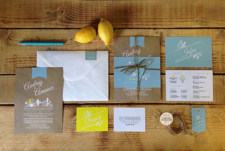 Kraft / Jaune citron / Bleu menthe
