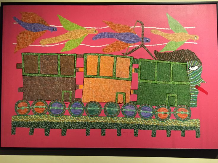 Take a look at this striking Gond Tribal Art depicting a train!  #Gond #Tribal #Art #Train #HTM