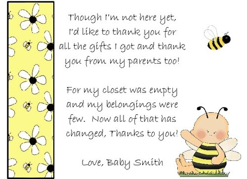 23 best Thank you images on Pinterest Bumble bees, Bees and Lyrics - baby shower thank you notes