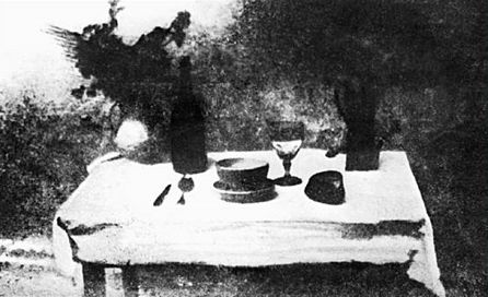 Joseph Nicéphore Niépce - Set Table (1827)  [Very early photo, about a year after Niépce invented the method to take one.]