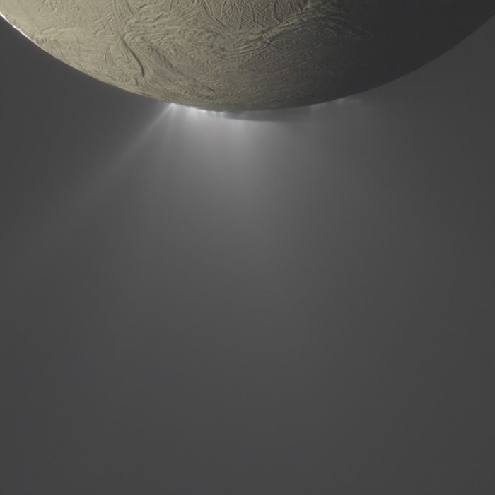 Geysers of water ice erupt from Saturn's moon Enceladus, the plumes are backlit by the sun while moon's dark side is illuminated by reflected light from Saturn. The Cassini spacecraft flew right through the plumes to let its instruments 'taste' them.