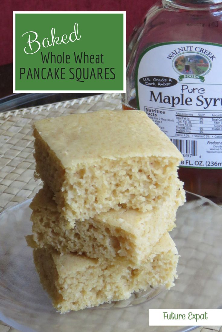 Baked Whole Wheat Pancake Squares | Future Expat - the easiest way to make pancakes for a crowd. Simply put together this whole wheat batter (that doesn't taste whole wheat) and pour into a baking pan. Also are great as leftovers or frozen, which works great for a quick breakfast on weekdays or even in your car.