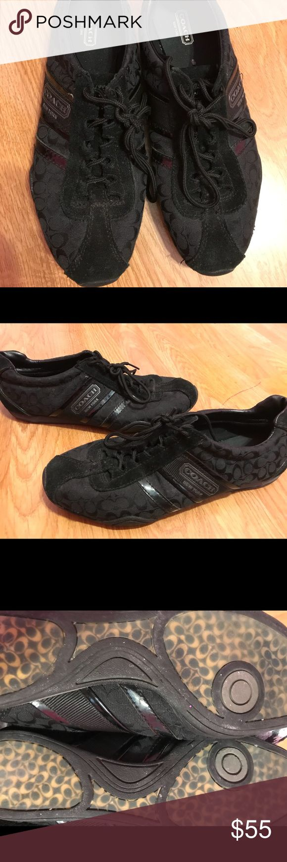 Coach tennis shoes Black coach tennis shoes. Size 9.5. Only wore a couple of times and in great conditions Coach Shoes Sneakers