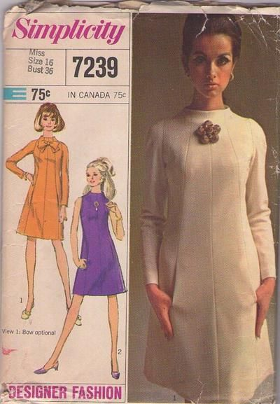 Simplicity 7239 Vintage 60's Sewing Pattern