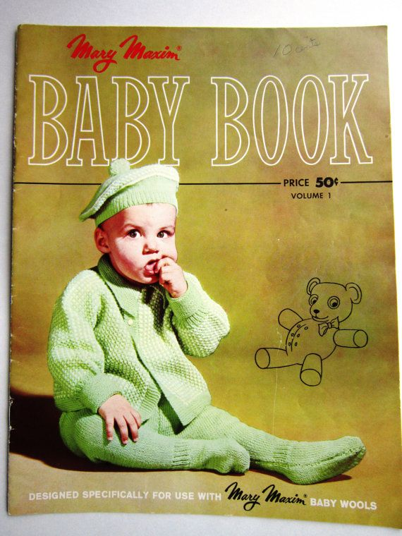 There are 16 or more vintage knitting patterns in this lovely Mary Maxim Baby Book. It features knitting patterns for baby items from the