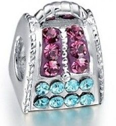 Pueple and Blue Crystal Bags Charm,Compatibility pandora charms 2014