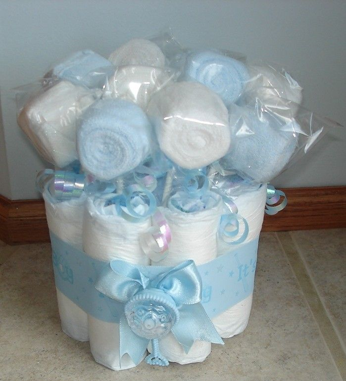 It's a boy mini diaper cake with washcloth lollipops. $14.00, via Etsy.