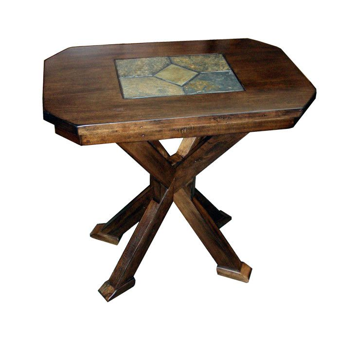 SD3237ACCS Savannah Rustic Walnut End Table with Slate Inlay Top