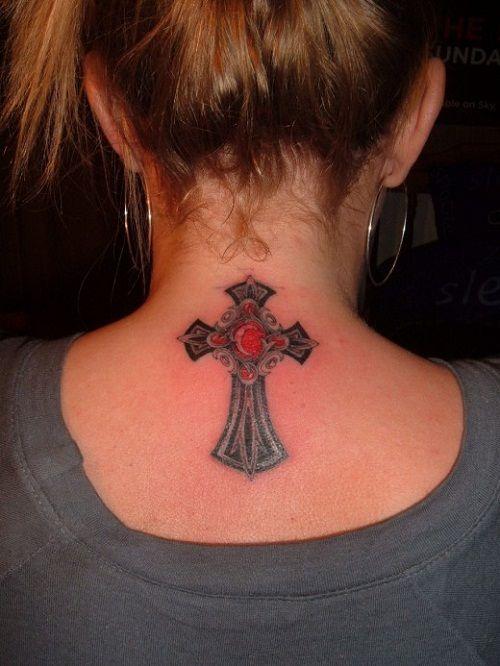 Cross Neck Tattoo Women Design Ideas - http://backgroundwallpaperpics.com/cross-neck-tattoo-women-design-ideas/ #Cross, #Design, #Ideas, #Neck, #Tattoo, #Women