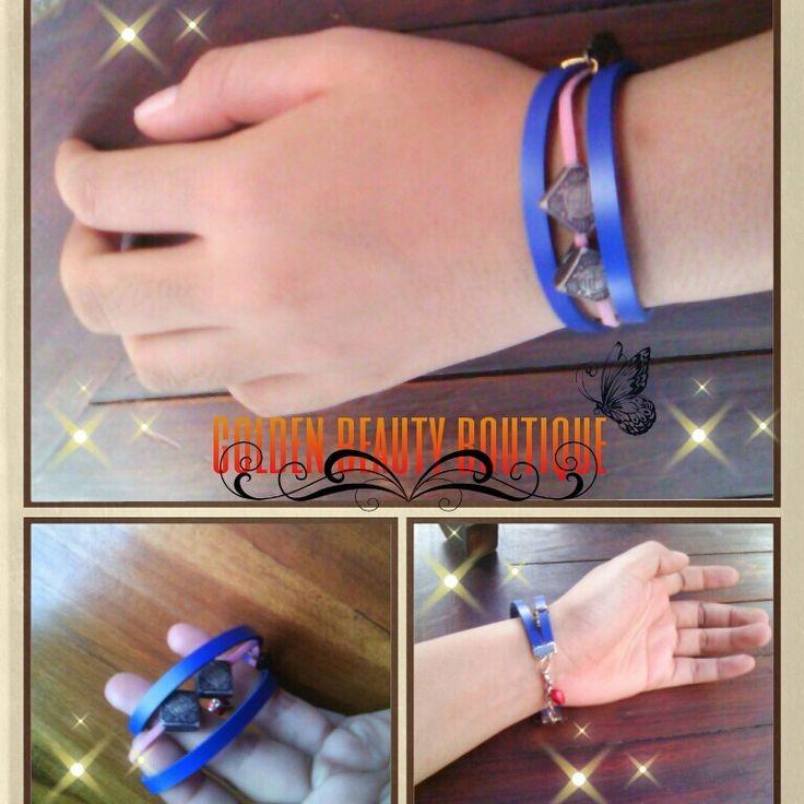 Rp.7500/pcs or $1 blue pink bracelet handmade