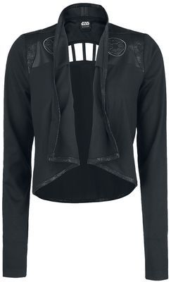 - With shoulder pads - Embroidered - Faux leather edging - Cut-out on the back with decorative strips - Longer at the back than the front - Worn open - Loose fit Get this 'Her Universe - Imperial Logo' ladies' cardigan from Star Wars with shoulder pads, exclusively available from EMP. The loose-fitting Star Wars cardigan is embroidered with the Imperial logo on the front and has a cut-out on the back with decorative strips. You can get this cardigan in sizes up to 3XL.