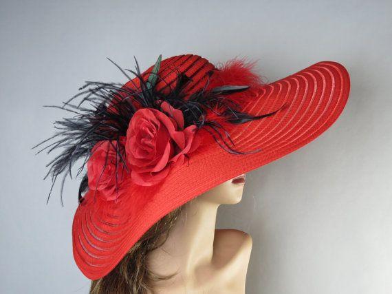 Rote Hochzeit Hut Kopf Stück Kentucky von BridalWorldAccessory
